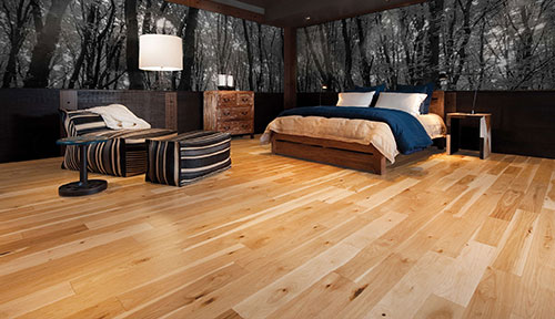 Smooth pre-finished hardwood flooring