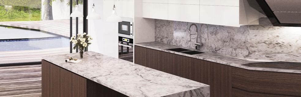 modern white and gray kitchen countertop with full granite backsplash custom counter 1