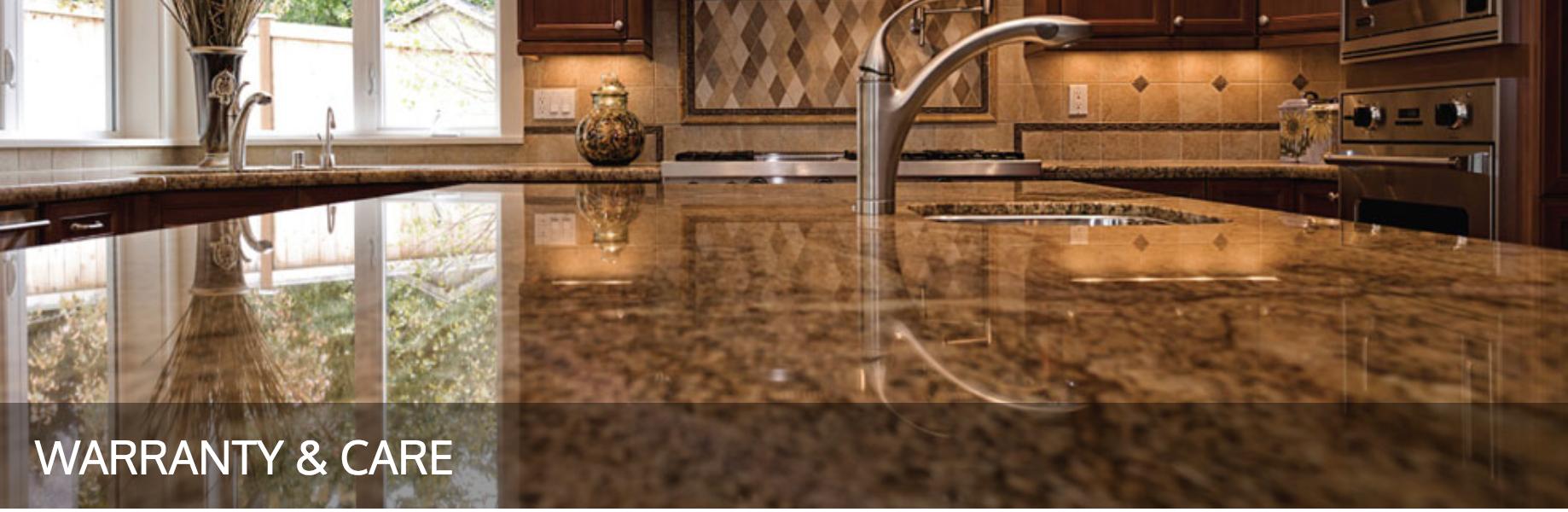 Natural Stone Countertop, granite countertop, quartz countertop warranty and care guidelines