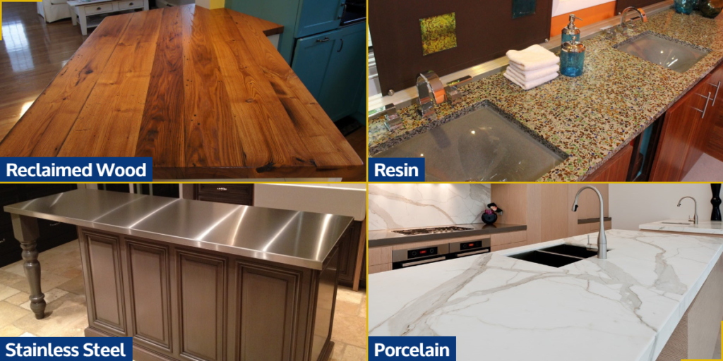 Reclaimed Wood, Resin, Stainless Steel, and Porcelain Countertops